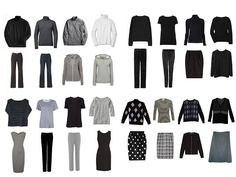 Core wardrobe in black and gray.  Could change this to any colors, just check the items off as you acquire them.  Shopping with a plan!