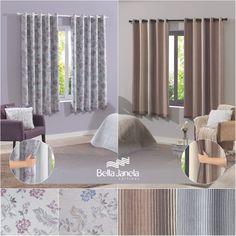 A Cortina Pratika Estampada Slim possui voil estampado e corta-luz em PVC! É ideal para quartos e salas.