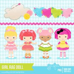 GIRL RAG DOLL Digital Clipart ,Dolls Clipart , Rag Dolls Clipart / Instant Download