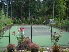 Photo Gallery of Home Tennis Courts in Vancouver, WA. Services available in Washington and Oregon. Landscaping A Slope, Landscaping Company, Lawn And Landscape, Landscape Design, Outdoor Putting Green, Badminton Court, Tennis Party, Vintage Tennis, Outdoor Fun