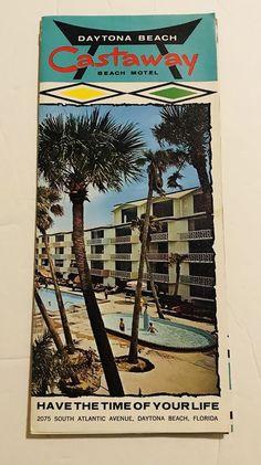Vintage Castaway Beach Motel Travel Brochure Daytona Florida