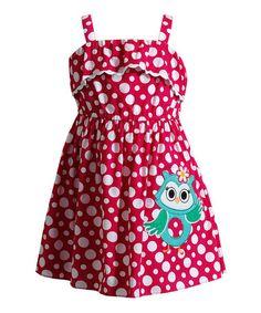 Look at this #zulilyfind! Pink Polka Dot Owl Appliqué Dress - Infant, Toddler & Girls by Youngland #zulilyfinds