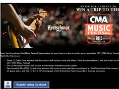 Enter the Kretschmar Nashville Sweepstakes for a chance to win a 4-day/3-night trip for two to Nashville, TN, to attend the 2015 CMA Music Festival!