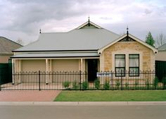 South Australian style stone house, modern version with garage and colorbond roof. Concrete Structure, Steel Structure, Australian Country Houses, Colorbond Roof, Exterior Wall Panels, Best Insulation, Properties Of Materials, Brick Building
