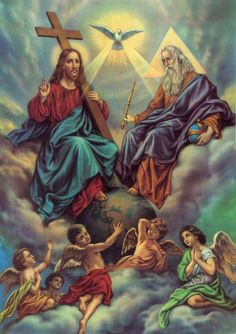 Jesus in the Holy Trinity: God the Father, God the Son and the Holy Spirit with angels Catholic Prayer Book, Catholic Religion, Catholic Prayers, Catholic Art, Religious Art, Roman Catholic, Trinity Catholic, Today's Prayer, Salvation Prayer