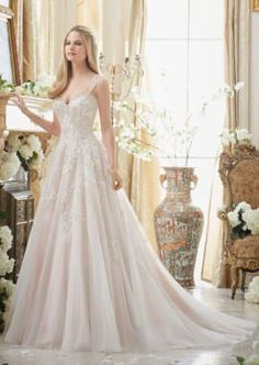 Elaborately Beaded Embroidery on Soft Tulle Ball Gown Morilee Bridal
