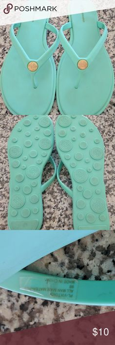 Bcbg generation teal blue flip flops Really nice, I only wore them once and my feet just aren't shaped right for them. Almost brand new condition. Size 9 but I usually wear an 8, they fit me well in length. BCBGeneration Shoes Sandals
