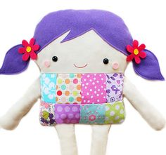 Doll Sewing Pattern - Easy Patchwork Girl Doll Softie PDF Sewing Pattern