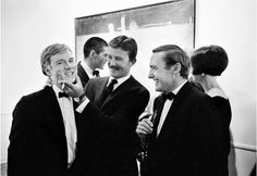 Andy Warhol, Irving Blum, artist Billy Al Bengston and Dennis Hopper at The Ferus Gallery in Los Angeles in 1963. Photo by Julian Wasser