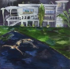 Karoliina Hellberg: Uima-allas, oil and acrylic paint on canvas, cm Finland Acrylic Painting Canvas, Finland, Oil, Mansions, House Styles, Fancy Houses, Mansion, Manor Houses, Mansion Houses