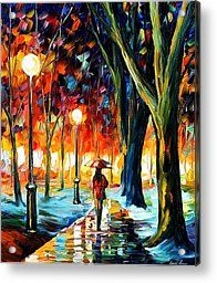 Cold Winter - Palette Knife Oil Painting On Canvas By Leonid Afremov Acrylic Print by Leonid Afremov