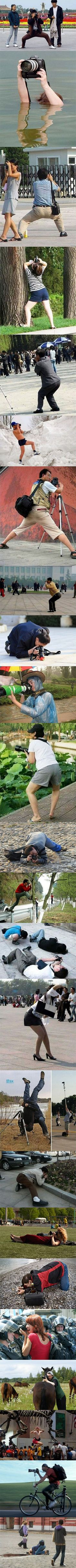 To get the perfect shot, it's not unusual to see photographers get in awkward positions, but sometimes, things can get a bit too weird.