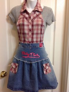 Upcycled Recycled Repurposed Children's Denim Apron by HookinUp, $22.00
