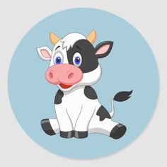 Shop Cute animated Cow round sticker created by Personalize it with photos & text or purchase as is! Cartoon Cow Face, Cow Cartoon Drawing, Farm Cartoon, Cow Drawing, Cute Cartoon Animals, Cartoon Kids, Cute Baby Cow, Baby Cows, Cute Cows