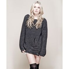 Last Season Jorge - Birds Of A Feather Jumper. This Jorge jumper is created using 100% acrylic.   It features a relaxed chunky knit style with a V shaped panel at the bottom front of jumper and is washed black in colouring.