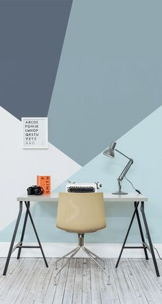 Sometimes your work space needs a little pick-me-up...this geometric wallpaper should do the trick!