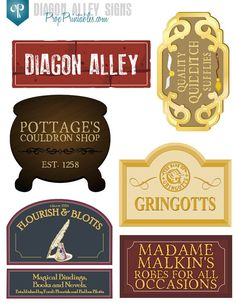 17 Diagon Alley Signs Harry Potter Party wtih by PropPrintables