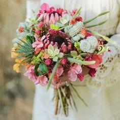 Primary Petals/Farhad Samari via Green Wedding Shoes | protea wedding bouquets #wedding #protea