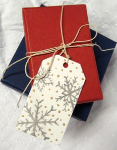 Gift+Tags+Silver+Snowflake++hand+painted+set+of+4+by+dasbuch,+$5.00