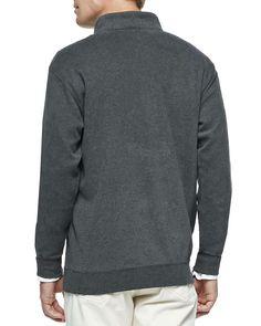 Melange Fleece 1/2-Zip Pullover, Green
