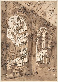 Francesco Guardi - Architectural Capriccio: Courtyard of a Palace