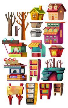 Illustration Set: Buildings & Magical Items on Behance