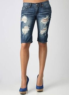 Long Distressed Denim Shorts