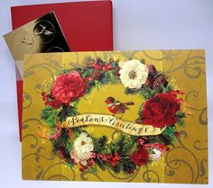 Amazon.com : Vintage Flower Robin Wreath Christmas Holiday Cards - Set of 14 : Office Products