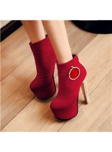 Wonderful Rhinestone Platform Heel Ankle Boots