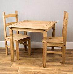 Kitchen Dining Set Pine Wood With 2 Chairs Breakfast Furniture Table Set 3 Piece #KitchenDiningSet
