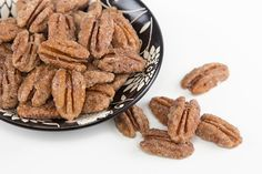 Need a sweet snack or topping that's also heart healthy? Whip up a batch of these Candied Pecans. #candiedpecans #pecans #sweettreat