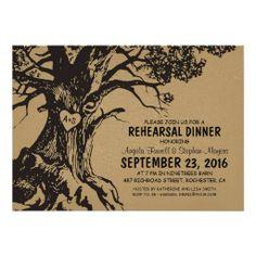 Rustic old oak tree rehearsal dinner