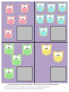Free Counting: This FREE math center file folder counting game features adorable… Owl Activities, File Folder Activities, File Folder Games, Counting Activities, Preschool Games, Preschool Kindergarten, File Folders, Kindergarten Readiness, Owl Theme Classroom
