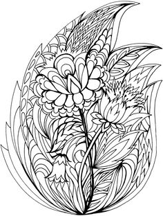 Fox Hand Drawn With Ethnic Floral Doodle Pattern Coloring Page