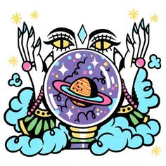 Items similar to Fortune Teller Print on Etsy Kunst Inspo, Art Inspo, Trippy Drawings, Art Drawings, Symbole Tattoo, Trippy Painting, Stoner Art, Hippie Art, Posca