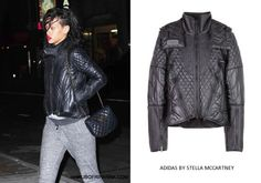 Rihanna in Adidas by Stella McCartney quilted ski jacket