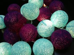Dark Purple & Turtuoise Cotton Ball String Light Fairy Light Bedroom or Party on Etsy, $12.99