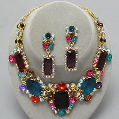 Chunky Multi Color Crystal Gold Statement Costume Jewelry Necklace Earrings Set