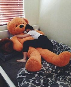 I'm cuddling my teddy bear now! I'm dating my teddy bear! Anyone wanna join in some cuddling! I'll let you kiss my bear! Huge Teddy Bears, Giant Teddy Bear, Big Bear, Cute Bear, Cute Couples, Real Couples, Cuddling, Things I Want, Girly Things