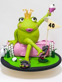 Frog Princess Cake, I love Frogs! Unique Cakes, Creative Cakes, Fancy Cakes, Cute Cakes, Pink Cakes, Beautiful Cakes, Amazing Cakes, Fondant Cakes, Cupcake Cakes