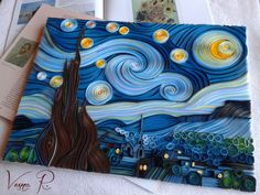 Van + Gogh + Starry + Night + In + Quilling + Technique + Ves - Quilled Paper Art Arte Quilling, Quilling Work, Paper Quilling Patterns, Origami And Quilling, Quilled Paper Art, Quilling Paper Craft, Paper Crafts, Foam Crafts, Quilling Images