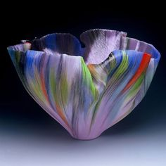 Glass Art, Rimbombare  2005  Filet-de-Verre, fused and thermoformed  colored glass threads  14.5 x 21.5 x 17 inches