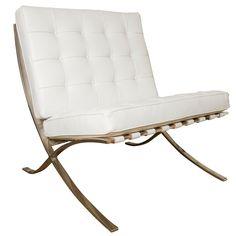 Barcelona chair by Mies Van Der Rohe for #Knoll in #white #leather  (via @1stdibs)
