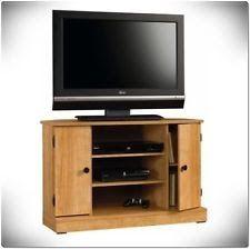 Corner TV Stand Wood Center Media Console Flat Screen Entertainment Cabinet Oak