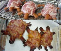 this is so kool for kids  at a BBQ. hamburger turtles.. hot dog legs and bacon tops. sooo neat.