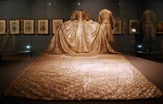 Court robe (grand habit) worn for the coronation of Sophie Madeleine and Coronation robe of King Gustav III of Sweden (1746-1792), both on May 29, 1772