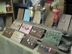 Such a simple but nice jewelry Craft show display! The uniformity is clean and simple and the wood display pieces would be easy to make. Want fantastic tips and hints about arts and crafts? Head out to this fantastic site! Art And Craft Shows, Craft Show Ideas, Arts And Crafts, Jewelry Booth, Jewelry Show, Nice Jewelry, Prom Jewelry, Jewelry Case, Dainty Jewelry