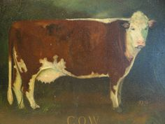 Vintage Cow Oil on Canvas Painting by Elizabeth by exploremag