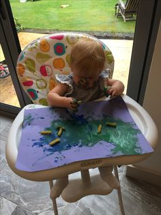Child initiated painting. Plus a bit of pasta play :)
