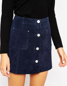 Suede A-Line Skirt With Button Through And Pocket Detail